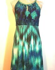 Wallis Maxi Sun Dress UK 12 Blue Ikat Paisley Turquoise Grecian Festival Beach