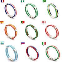 Men's Braided Country Flag Bracelet Sport Wristband World Cup Bracelets BL3