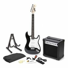 Electric Guitar Superkit with Amp Strings Tuner Strap Case and Cable Black