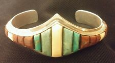 Gorgeous Hopi Indian Sterling Silver Cuff Bracelet Turquoise signed Snow Horse