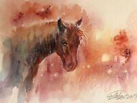 Original painting Horse Sunset watercolor Art listed by artist Artettina USA