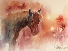 Original painting Horse Sunset watercolor Art listed by artist Artettina USA