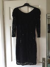 Evie Womens Stretchy Black Lace Sequin Low Back Dress Size 10 Christmas Party