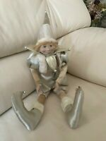 Bombay Company Christmas Elf Doll 16 Inch Rubber Face Hand Painted Rare