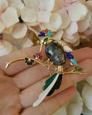 Antiguo Pájaro perno con black pearl , Turquesa Diamantes En 18ct Oro Amarillo -