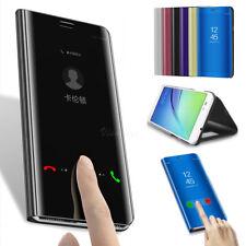 Huawei P8 P9 P10 Lite/Claire Mate Rétroviseur En Cuir Rabattable Coque Support