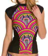 NEW Women's RIP CURL MODERN MYTH RASHGUARD Back Zip - Black / Multi Color - XS