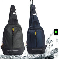 Waterproof Anti-theft Sling Bag For Men Boy Crossbody Backpack USB Charger Ports