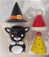 Kitty Cat Salt & Pepper Set Ceramic Birthday Christmas & Halloween Hats NEW