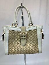 COACH 4419 Natural Straw & Off White Leather Suede Trim Tote Bag Handbag Purse