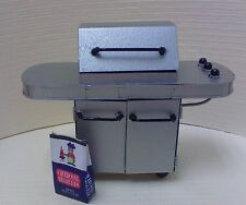 Dollhouse mini 1:12 Bar-B-Q Grill silver,  modern w/bag charcoal Town Square,