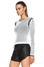 NWT $370 Helmut Lang Modern Mesh Black & White Double Layer Sweater sz L