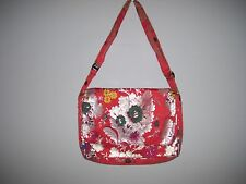 Large Cross Body Shoulder Handbag Multi-Color Floral Adjustable Long Strap EUC