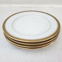 Noritake Richmond Plates Bread Butter Set of 4 Japan Gold Trim Vintage 6124