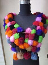 Women's real rabbit fur handmade 108balls scarf /cape/wrap/shawl/multicolor