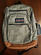 "Jansport Backpack ""Cool Student"" Gray 15"" Laptop Sleeve Tan Leather Bottom - NEW"