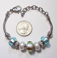 """European Slide Bracelet, Removeable Charms: Foil Glass/RS/Pearly, ST Chain 8.5"""""""