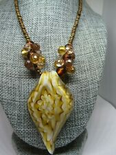 Large Glass Pendant Necklace-White Amber and Gold