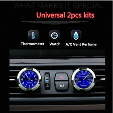 2Pcs Car Clock Watch Thermometer A/C Vent Clip Gauge Trim Perfume Refill Storage