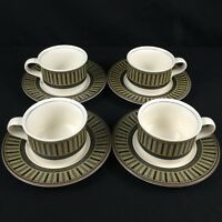 Set of 4 Flat Cups and Saucers by Mikasa Intaglio Indigo Accent CA202 Malaysia