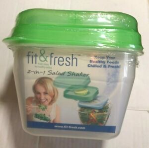 Fit & Fresh 2-In-1 Salad Shaker with Removable Ice Pack and Dressing Dispenser