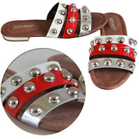 Ladies Women's Flat Sliders Studded Slip On Mule Summer Holidays Sandals Shoes