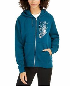 New Nike Women's Sportswear Shine Metallic Logo Zip Hoodie Choose Size MSRP $75