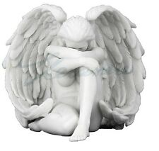 Winged Nude Female Angel Holding Knee Statue Artfully Posing Woman Figure