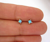 925 sterling silver 5x6mm created blue opal star studs earrings