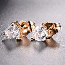 Fashion Jewelry Earrings Clear Cryastal Stud 18K Gold Filled Heart 3 Claw Fine