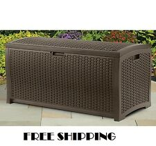 Suncast Deck Box Pool Garden Storage Chest Outdoor Resin Wicker Patio Brown