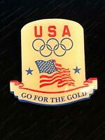Collectible Vintage USA Olympic Go for the Gold Colorful Metal Pinback Hat Pin
