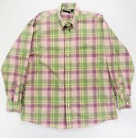 Burberry London Pink Green Plaid Check Button Up Shirt Long Sleeve Mens Large