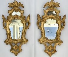 SET OF 2 ANTIQUE ITALIAN ROCOCO ORNATE CARVED GOLD LEAF WALL MIRRORS, C.1800's