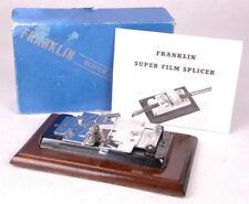 Vintage Franklin Super Film Splicer Instructions & Box-Wood Base-Motion Picture