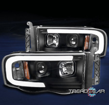 FOR 2002-2005 DODGE RAM 1500/2003+ 2500 3500 LED TUBE PROJECTOR HEADLIGHTS BLACK