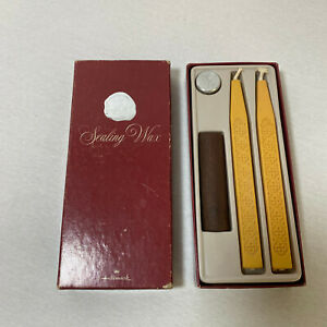 Vintage Hallmark Sealing Wax Set Handle & Seal Letter F w/ 2 Wax Sticks
