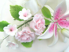 Gum Paste Sugar Pink Lily Calla Lilies Carnations Blossoms Fondant Cake Flowers