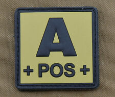 "PVC / Rubber Patch ""Blood type A POS + Tan"" with VELCRO® brand hook"