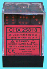 CHESSEX OPAQUE BLACK with RED 36 die set NEW d6 dice block 12mm dungeons mtg