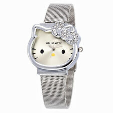Cute Hello Kitty Watch Girl Women Luxury Fashion Lady Crystal Silver Gold Color