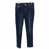 One 5 One Women's Mid Rise Embellished Jeans Size 8 Dark Wash Denim