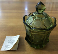 Vintage Fostoria Olive Green Coin Glass Candy Dish Hand Crafted Liberty W/Book