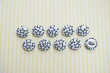 10 White with Small Black Stars Fabric Covered Buttons - 12mm