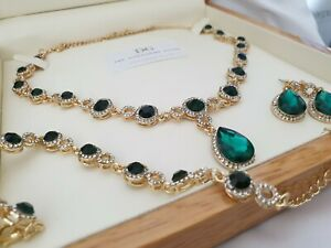 Yellow gold finish pearcut green emerald and created diamond necklace Gift Set