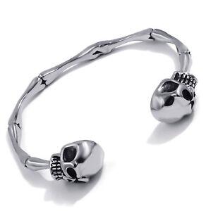 Men's Stainless Steel Skull Skeleton Bones Silver Cuff Bracelet Biker Jewelry