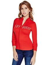GUESS Sweater Women's Rhinestone Logo Mock Neck Zip Cardigan Sweater S Red NWT