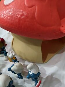 Vintage The Smurfs Mushroom House 1976 Peyo Schleich Incomplete with 14 Figures