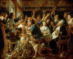 Jacob Jordaens The Feast of the Bean King Poster Giclee Canvas Print