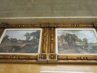 Pair of Vintage Ornate Framed Bucolic Prints 17 x 20 Winde (?) Unique Frames!